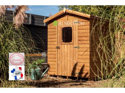 NOUVEAU votre abri en bois 3,31 m2 massif traité haute température avec plancher et panneaux 19 mm et toit double pente