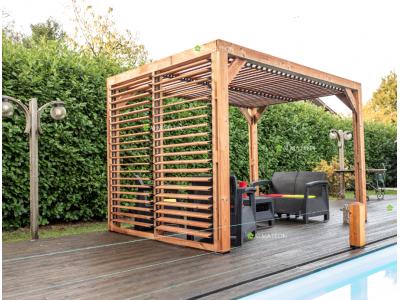 Nouveau série limitée votre pergola 7,32 m2 en bois massif traité haute température livré avec ventelles mobiles sans entretien