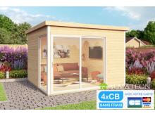 Vente flash fin de saison votre abri ou bureau télétravail de Jardin ultra moderne cubique en Bois d'Épicéa Brut Domeo 1 (8,48 m