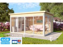 Vente fin de saison votre abri de Jardin ou bureau télétravail type studio en Bois d'Épicéa Brut Domeo 4 (12,82 m²)
