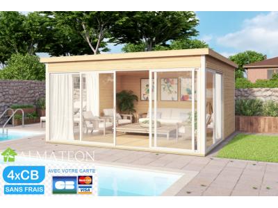 Vente flash fin de saison votre abri de Jardin ou bureau de télétravail type studio en Bois d'Épicéa Brut Domeo 5 (16,74 m²)