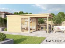 Vente flash été votre abri de Jardin ultra moderne cubique en Bois d'Épicéa Brut Domeo 2 (8,48 m2 + 5,82m2)