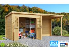 Abri de jardin ou bureau télétravail SOPHY de 9,20 m2 avec une extension réversible intégrée en bois d'épicéa NON IMPOSABLE !