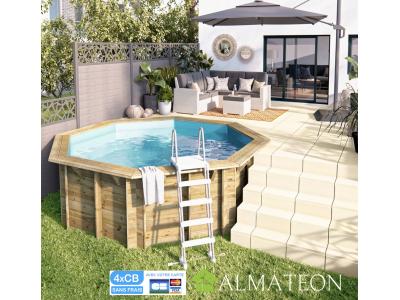 Réservez votre piscine octogonale Sunwater ALL in ONE diamètre de 360 cm hauteur de 120 cm, liner coloris bleu adriatique