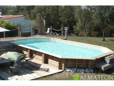 Réservez votre piscine octogonale allongée en pin AZURA 400 x 750 cm, hauteur de 130 cm, liner coloris beige