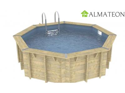 Réservez votre piscine octogonale en pin OCEA diamètre 510 cm, hauteur de 120 cm, liner coloris gris
