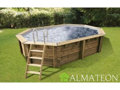 Réservez votre piscine octogonale allongée en pin OCEA 355 x 550 cm, hauteur de 120 cm, liner coloris gris