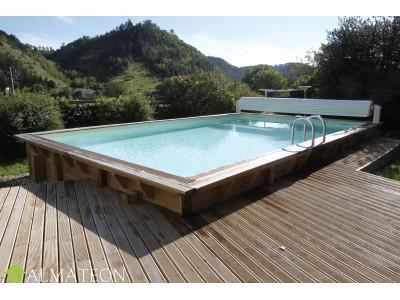 PISCINE en bois UBBINK rectangulaire LINEA 350 x 650 cm, hauteur de 140 cm, liner coloris beige
