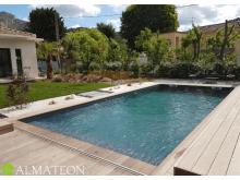 Réservez votre piscine rectangulaire en pin LINEA 500 x 800 cm, hauteur de 140 cm, liner coloris gris