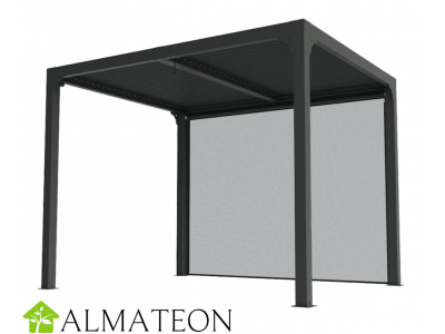 Pergola bioclimatique 7,20 m2 ALUMINIUM balcon et terrasse gris anthracite avec rideau manuel gris