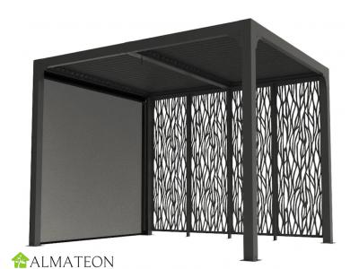 Pergola bioclimatique 7,20 m2 ALUMINIUM balcon et terrasse gris anthracite avec 4 panneaux moucharabieh gris et 1 rideau manuel