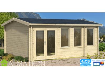 Abri de jardin ou bureau télétravail DOURO de 19,18 m2 en bois d'épicéa de dimensions 4,33 x 5,50 m