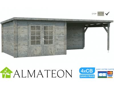 Abri bois de Jardin ou bureau télétravail ELLA de 8,7 m2 avec extension intégrée de 10,0 m2 PALMAKO, traitement gris