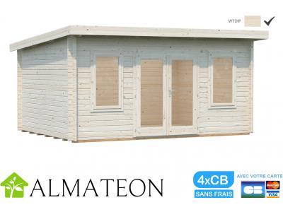 Abri bois de Jardin ou bureau télétravail LISA de 14,2 m2 avec plancher inclus et double vitrage PALMAKO, translucide