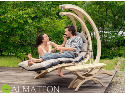 Chaise longue suspendue en bois Swing Lounger AMAZONAS vendue avec support et fixations, coloris Anthracite