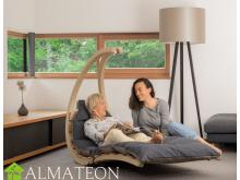 Chaise longue suspendue en bois Swing Lounger AMAZONAS vendue seule sans support, coloris Anthracite