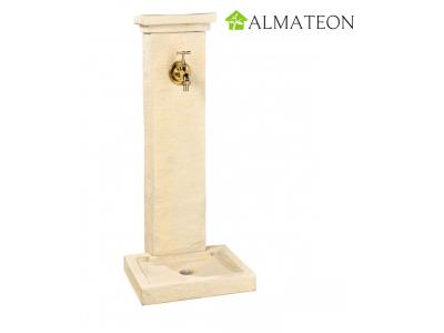 Fontaine borne schiste ton pierre 39 x 31 x 82.5 cm avec robinet