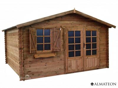 Abri en pin 16 m² Zahora, traité et teinté marron, 28 mm