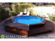 Réservez votre piscine octogonale en pin OCEA diamètre 430 cm, hauteur de 120 cm, liner coloris bleu adriatique