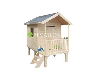 Vente flash été maison surélevée en bois brut pour enfants Kangourou +, 167 x 181 x H 200 cm
