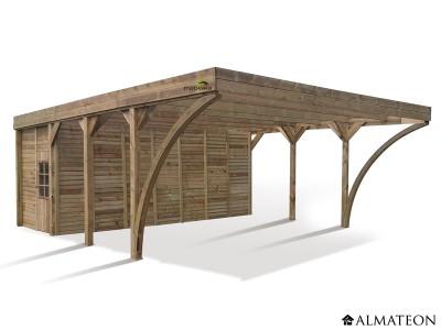 Carport Double Aymar de 42.65 m² en pin pour 2 voitures, avec remise