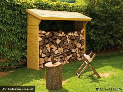 Abri bûches en bois Olbia, L 220 x lg 75.5 x H 183 cm