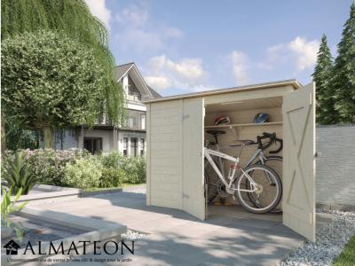 Abri de rangement pour vélos et poubelles, avec madriers 19 mm