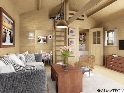 Pavillon de week-end de 24 m2 au rez-de-chaussée, avec madriers 45 mm