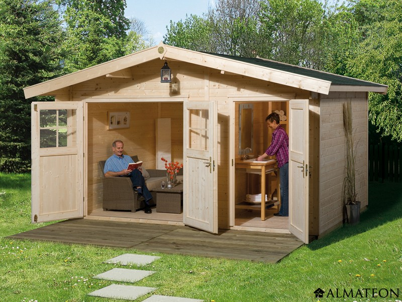 Abri de jardin 2 pièces, 12 m2, avec madriers 28 mm, taille 2 - ALMATEON