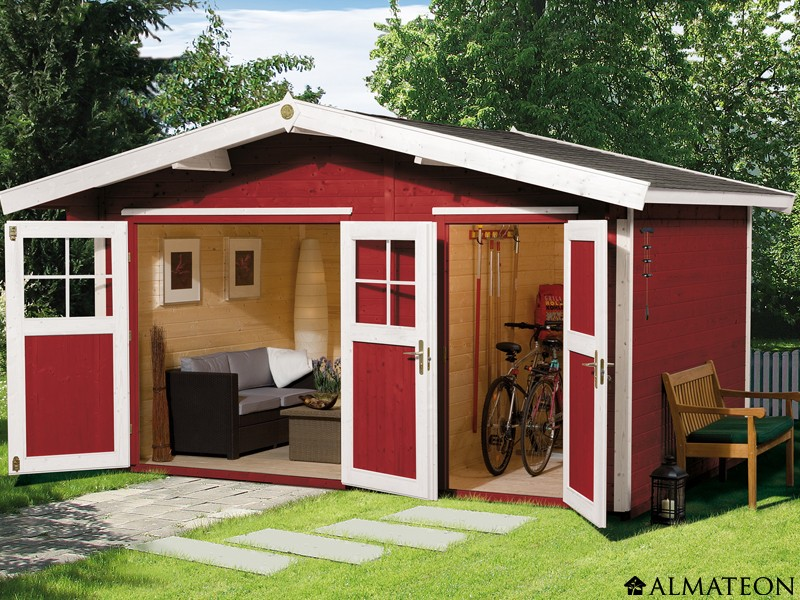 Abri de jardin 2 pièces, 12 m2, avec madriers 28 mm, taille ...