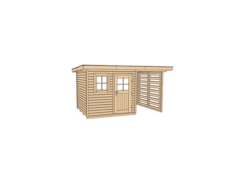 Abri de jardin de 13 3 m2 avec extension 150 cm taille 3 almateon - Abri de jardin avec extension ...