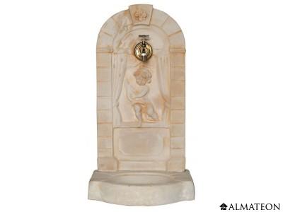 Fontaine murale aux angelots, en pierre, 42 x 37 x 82 cm, avec robinet