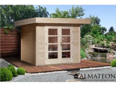 Abri design de 8 m2, avec porte double, plancher en bois massif et madriers 28 mm, brut, taille 3