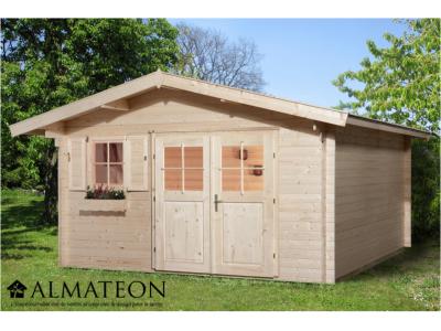 Abri de jardin de 14,5 m2, avec avant-toit de 60 cm, plancher en bois massif et madriers 28 mm, taille 3