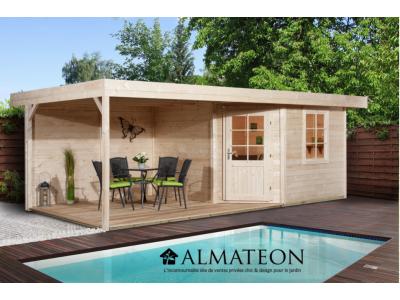 Abri design de 13 m2, avec plancher en bois massif et extension de 303 cm, brut, taille 1