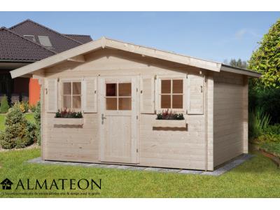 Abri de jardin de 11 m2, avec plancher en bois massif et avant-toit de 60 cm, taille 1