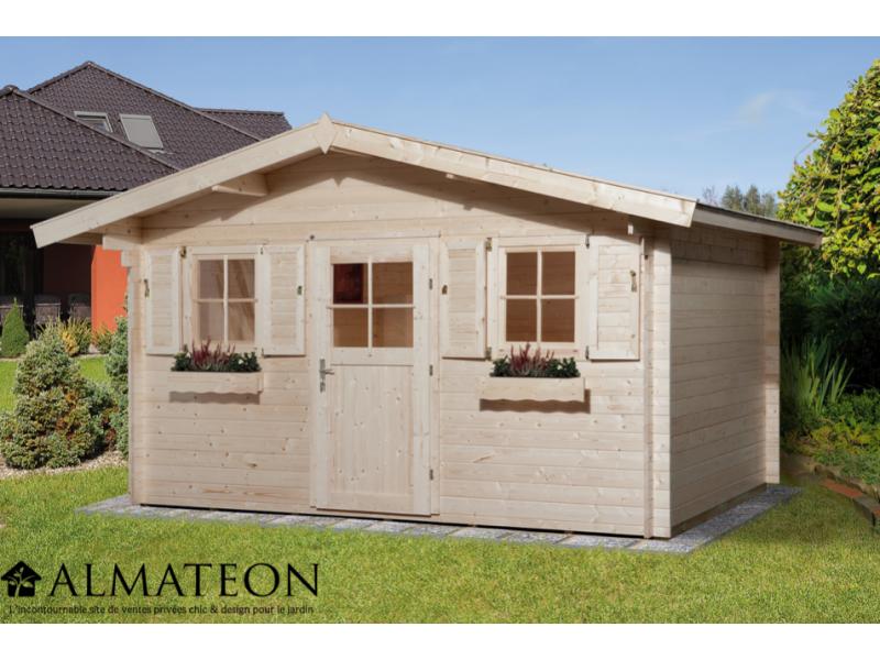 abri de jardin de 14 m2 avec plancher en bois massif et. Black Bedroom Furniture Sets. Home Design Ideas