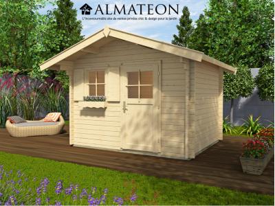 Abri de jardin de 9 m2, avec plancher en bois massif et avant-toit de 60 cm, taille 3