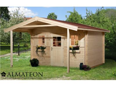 Pavillon de weekend de 14 m2, avec avant-toit de 200 cm, taille 1