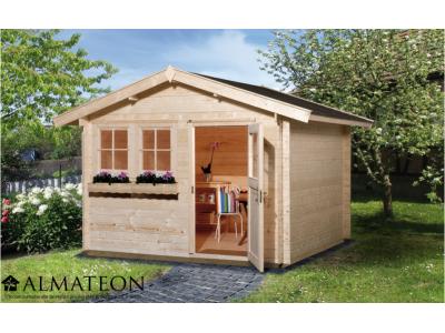 Abri de jardin de 7,5 m2, avec avant-toit de 20 cm, taille 1
