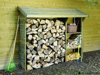 Abri bûches en bois Split de 1,5 stères avec système d'étagères