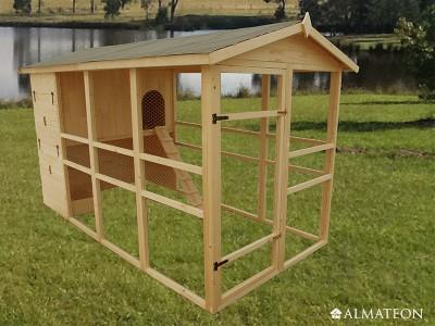 Vente flash printemps poulailler XXL pour 8 à 12 poules 6,9m2 - avec toit bitumé