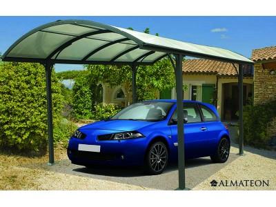 Vente flash été votre carport aluminium toit demi-rond 14.62 m² anti-UV