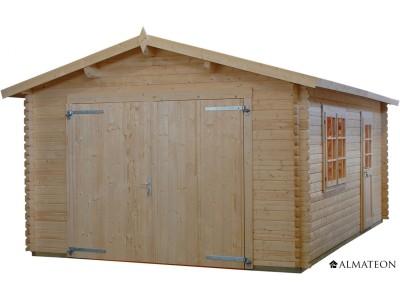 Garage en sapin 18.2 m² WW-38, épaisseur 34 mm